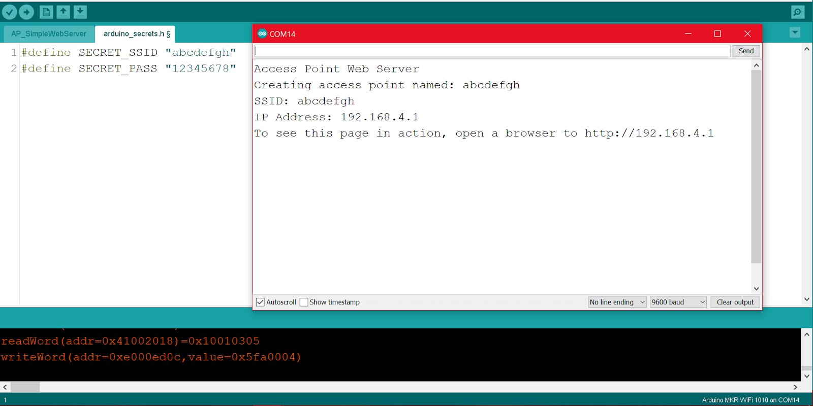 Serial monitor message