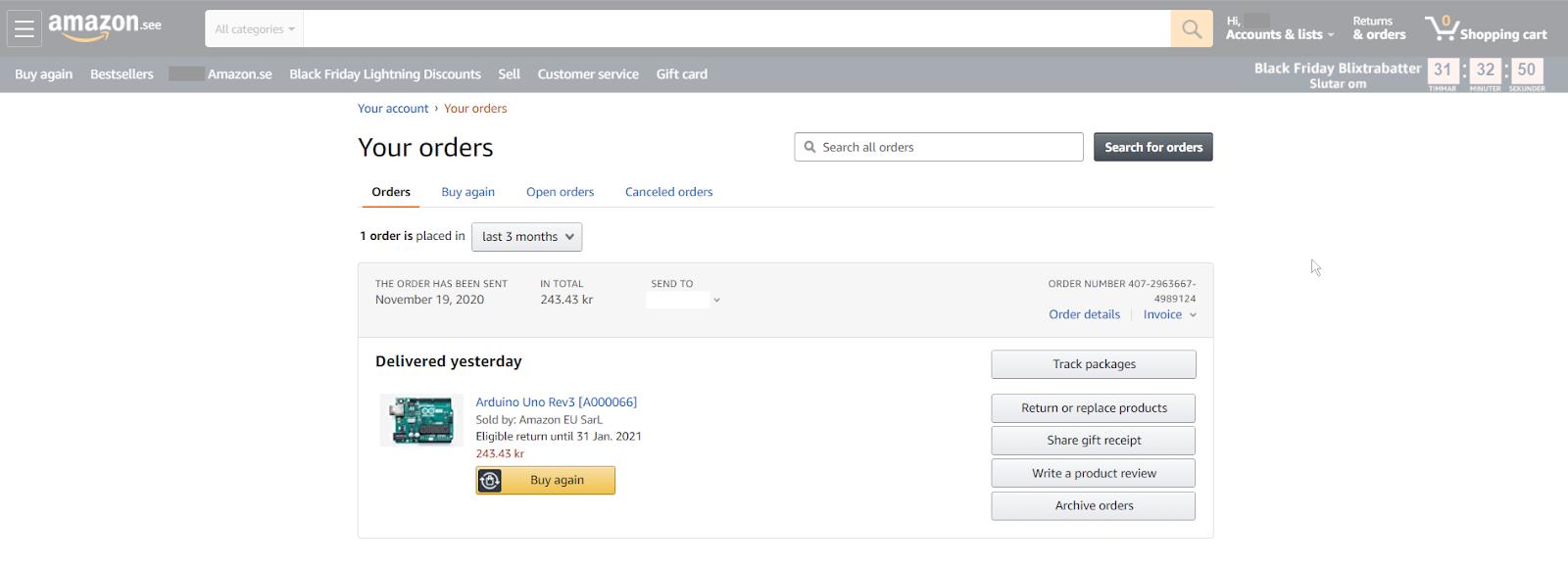 Amazon - Order List