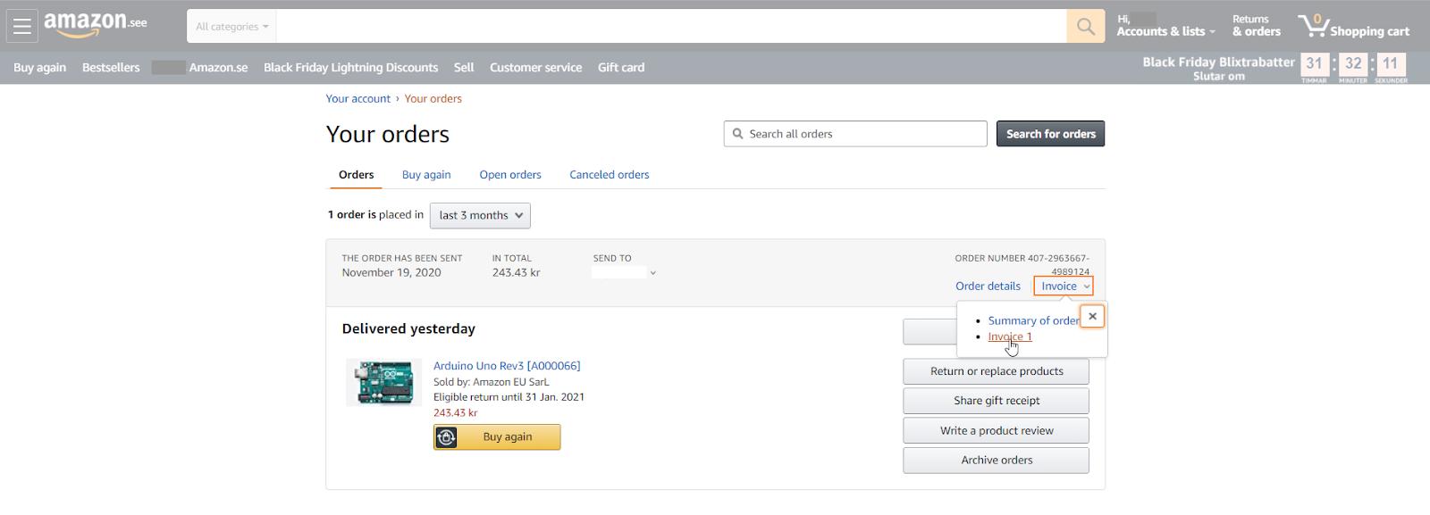 Amazon - Order invoice