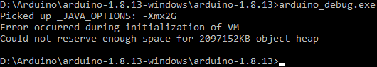 """""""command line showing the message: Error occurred during initialization of VM. could not reserve enough space for object heap"""""""