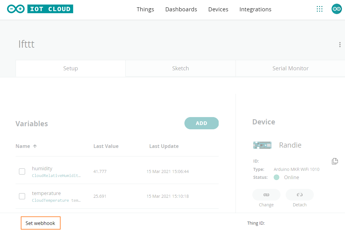 Arduino IoT Cloud Thing Setup. The 'Set webhook' button is highlighted.
