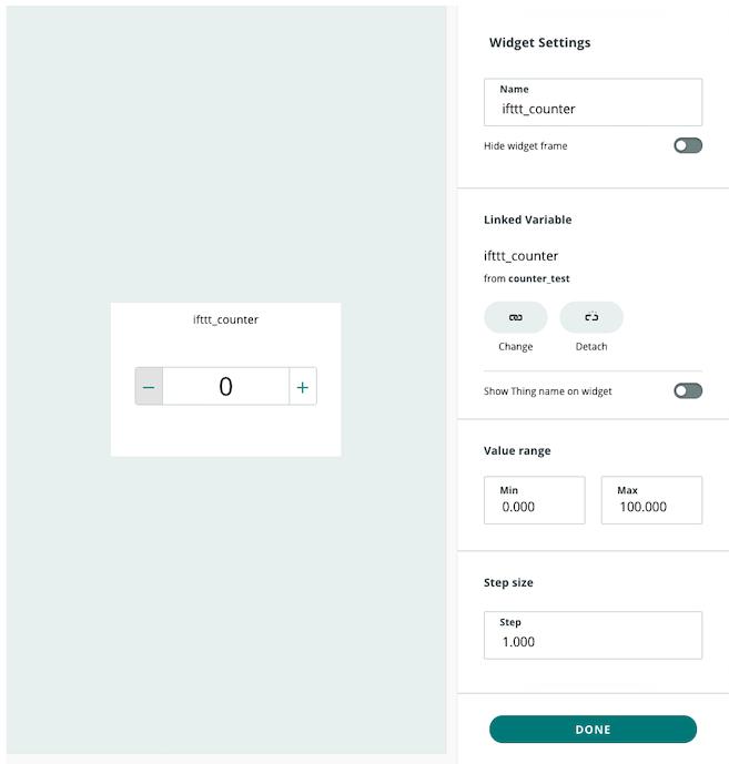 IoT widget settings