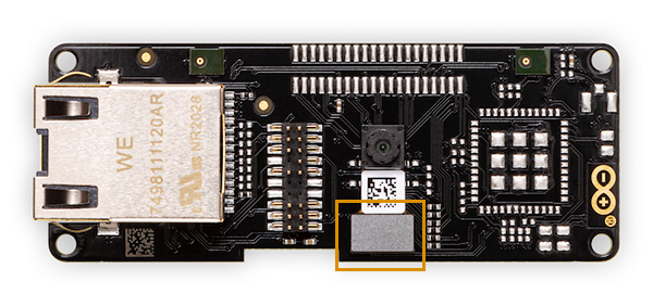 The Portenta Vision Shield (Ethernet version). The metallic plate of the camera shield is highlighted.