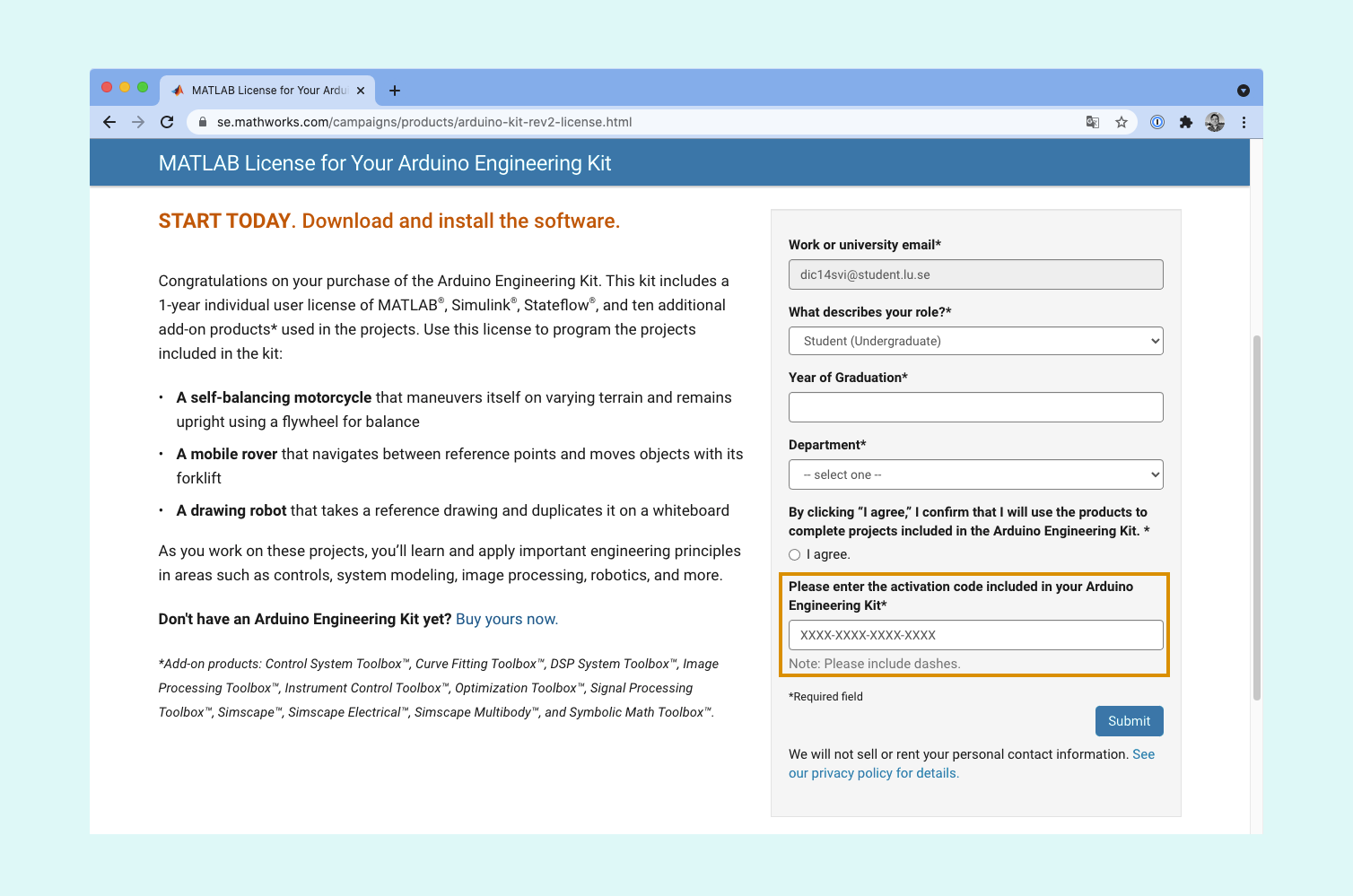 """The MathWorks Engineering Kit page. A field labeled """"Please enter the activation code included in your Arduino Engineering Kit"""" is highlighted."""