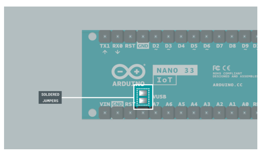 Modification to make the store purchased Nano 33 IoT compatible with engineering kit Rev2
