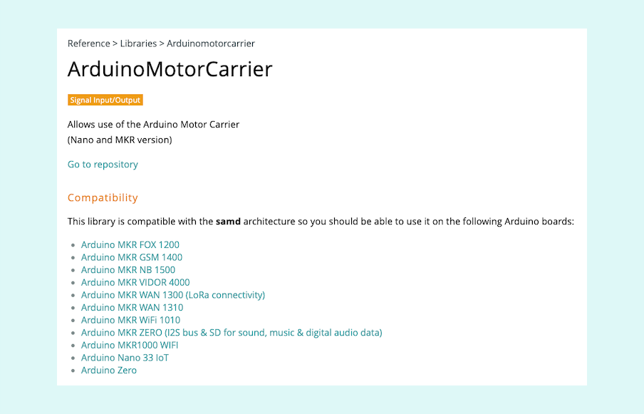 Reference page for the ArduinoMotorCarrier library.