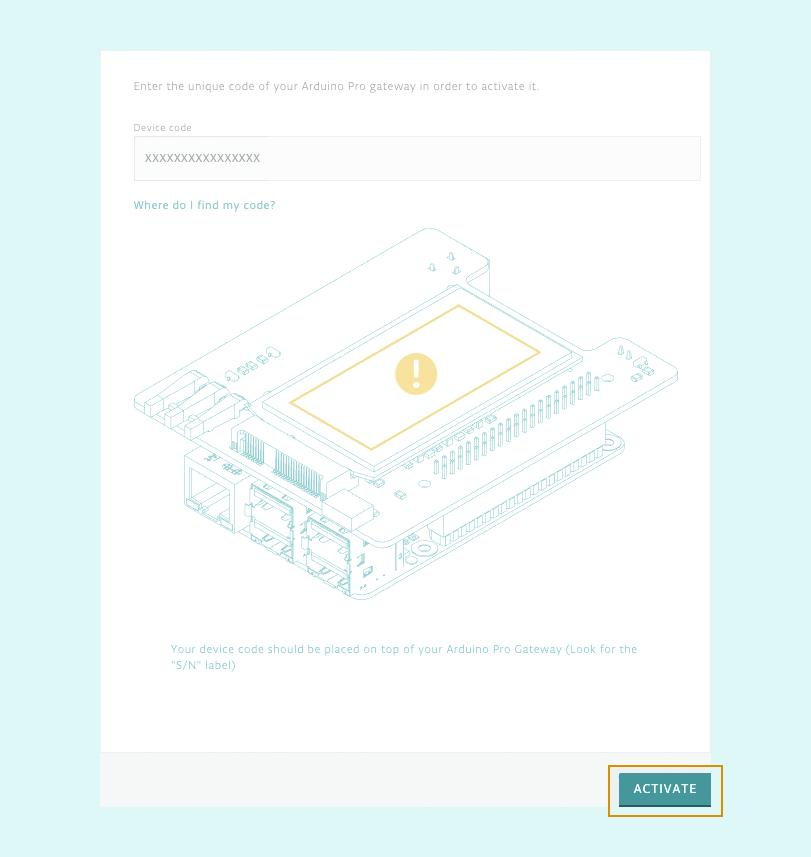 The Pro Gateway setup activation page.